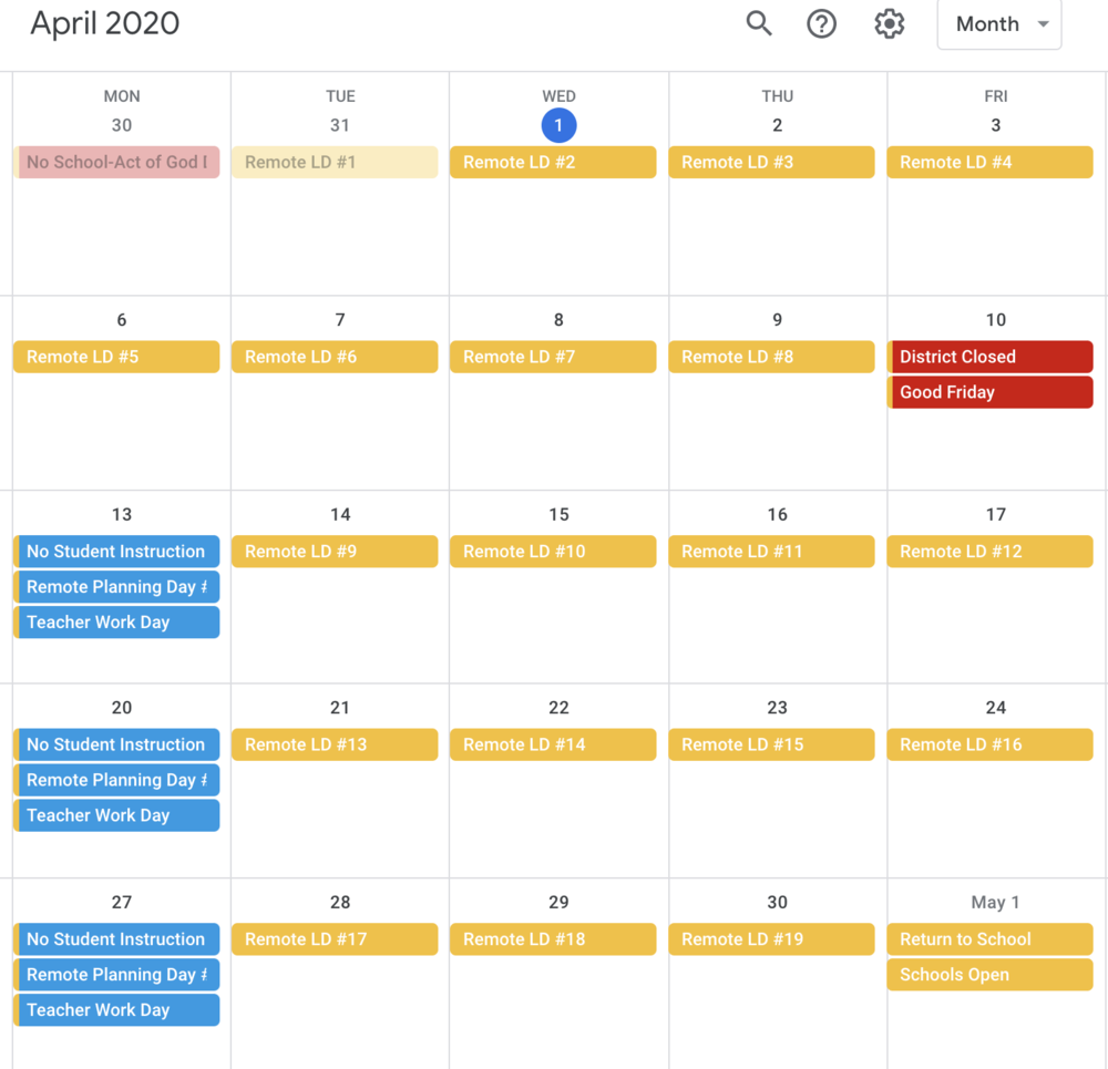 Remote Learning Calendar