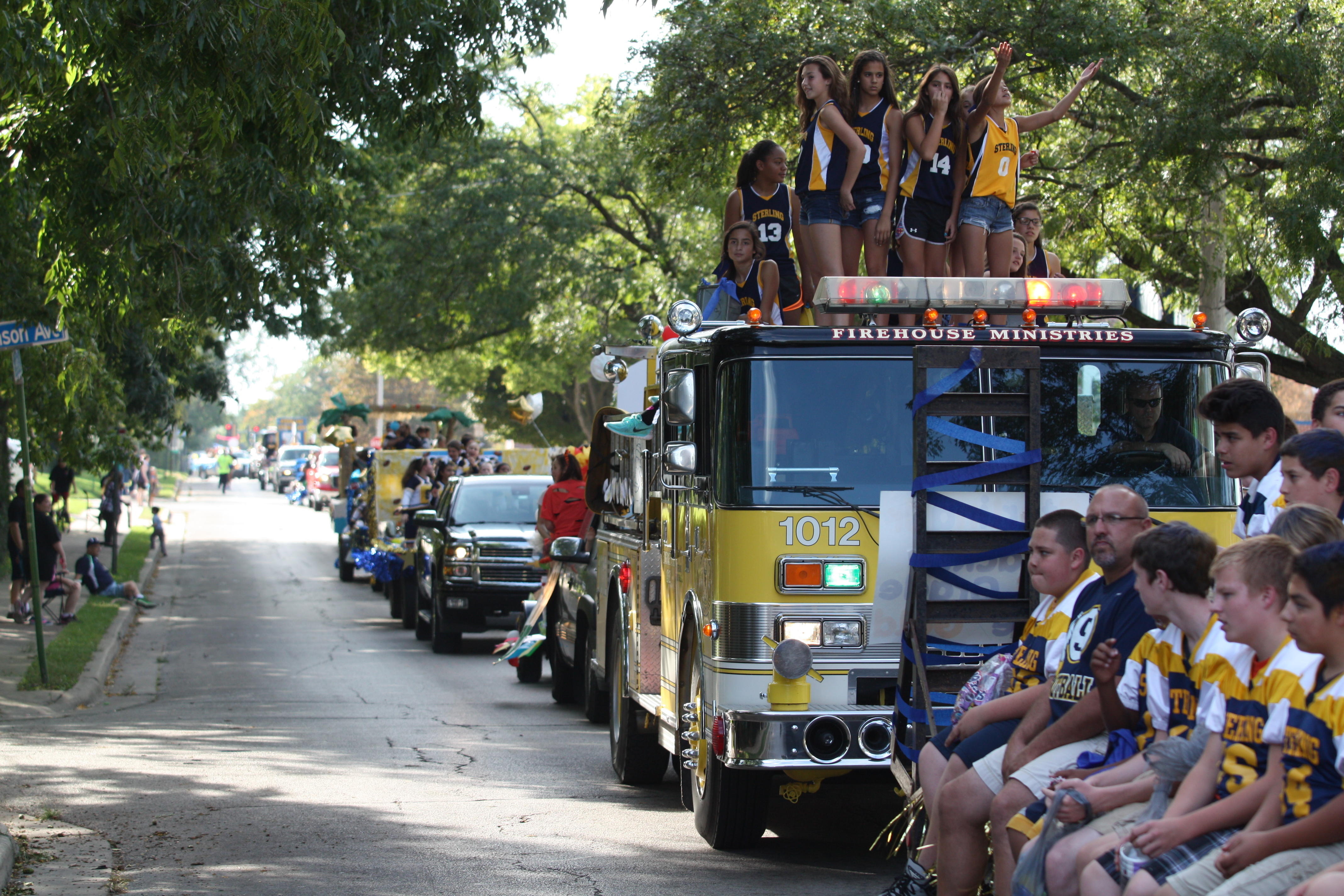 fire engine in homecoming parade